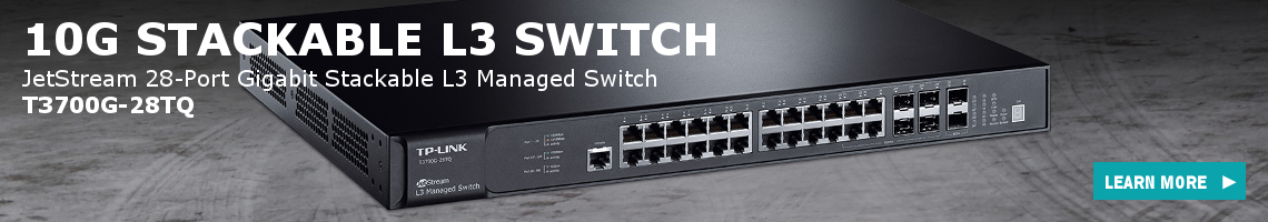 10G Stackable L3 Switch - The T3700G-28TQ